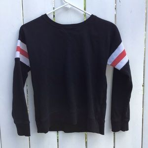 Girls Black Sweater with Striped Sleeves- Old Navy